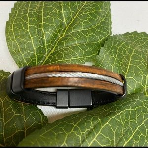 Other - Black Leather and Brown Mens Bracelet